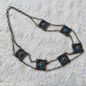 Faux turquoise western belt chain square